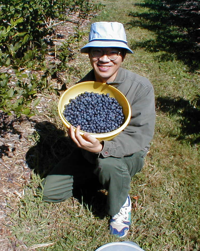 [Me, with my blueberry harvest]